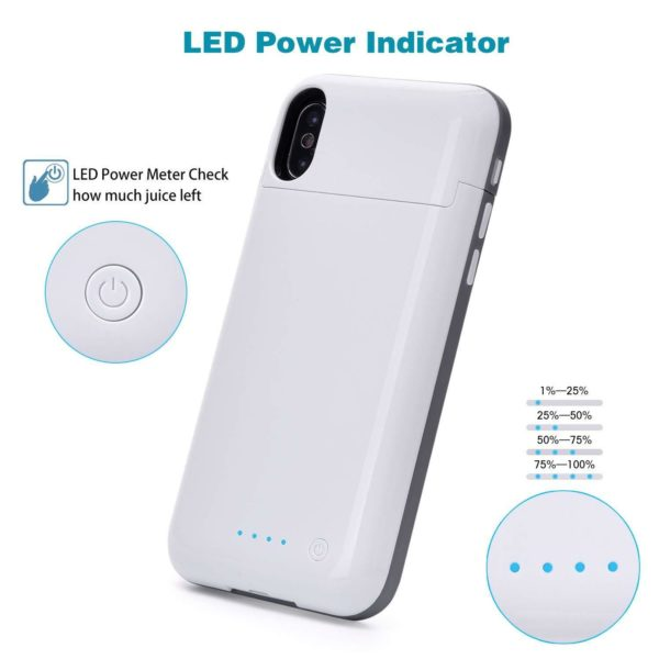 Чехол батарея iPhone X ProStrum Battery Case 5200 mah white